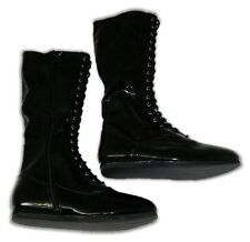 Black Mens Lace Up Boots for Pro Wrestling Costume