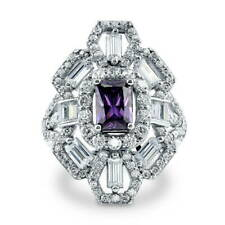 BERRICLE Sterling Silver Simulated Amethyst CZ Art Deco Fashion Cocktail Ring