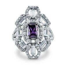 BERRICLE Sterling Silver Simulated Amethyst CZ Art Deco Right Hand Cocktail Ring