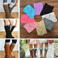 Free Shipping Stretch Lace Flower Leg Warmers Trim Toppers Boot Socks Cuffs Hot