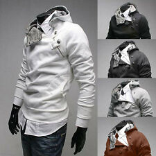 Mens fad style Hoodies Inclined zipper Design Button Slim Fit Jackets Coat