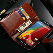 Luxury Case For Motorola Moto G2 Glossy PU Leather Flip Card Wallet Stand Cover
