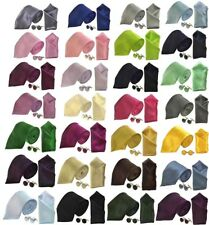 MENS SILKY SATIN TIE HANDKERCHIEF CUFFLINKS & SETS 40 COLOURS WEDDINGS PROM WORK