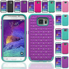 For Samsung Galaxy S6 Hybrid Hard Diamond Bling Cell Phone Case Skin Phone Cover