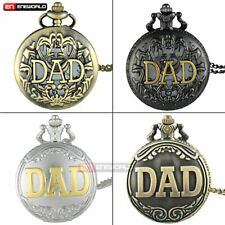 Bronze DAD Vintage Pocket Watch Quartz Pendant Necklace Mens Gift Retro Antique