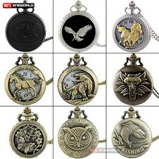 Steampunk hollow Animals Antique Pocket Watch Chain Necklace Pendant Quartz Gift