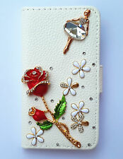 Crystal Rose Girl Wallet Card Holder Leather Flip Case Cover For various phones