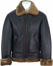 UNICORN Mens Sheepskin Aviator Jacket Brown With Brown Fur Leather Coat #S7