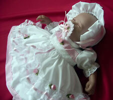 DREAM BABY REBORN  PINK ROSES DRESS BONNET NB 0-3 3-6 6-12 12-18 18-24 months