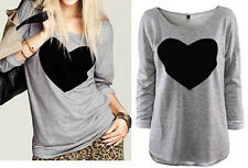 Fashion Women's Loose Heart Printed V-Neck Tops Long Sleeve Shirt Casual Blouse