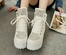 Womens Rhinestones Creeper Platform Casual High Lace Up Wedge Heel Sneaker Shoes
