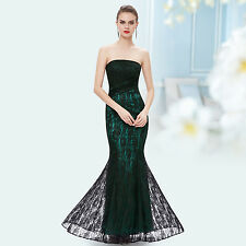 Sexy Lace Green Long Fishtail Strapless Party Evening Formal Prom Dress 08503