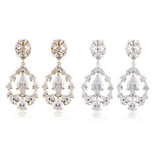Jewelry Fashion White Sapphire Drop Earrings 10Kt White/Yellow Gold Filled Gift
