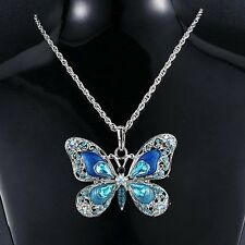 Silver Butterfly Colorful Crystal Pendant Choker Sweater Necklace Chains GIFT