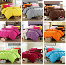 3 Pieces Soft Solid  Bed Doona Duvet Quilt Cover Set