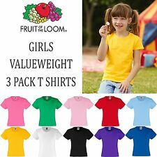 3 Pack Fruit of the Loom GIRLS FIT Valueweight T Shirt Top School Fashion Tee PE