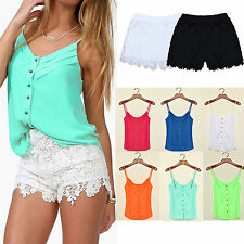 Women Sexy V Neck Sleeveless Vest Tops Elastic High Waist Lace Shorts Pants Sets