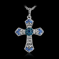 Trendy New Silver Rhinestone CROSS With Sweater Crystal Pendant Necklace Chains