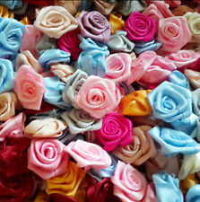 Ribbon Rose DIY Wedding Flower Satin Decor Appliques Craft Sewing Leaves 100 pcs