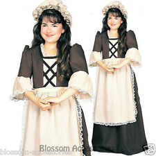 CK397 Colonial Girl Child Costume Fancy Dress Pilgrim Historical Pioneer Dress
