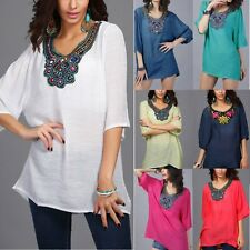 Vintage Women Half Sleeve Loose Maternity Tops Blouse T Shirt Mini Dress UK14-22