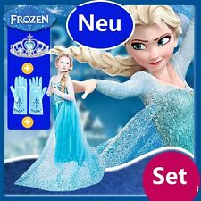 Mädchen Frozen Elsa Perlen Tüll Kleid Kostüm Cosplay Party Dress Eiskönigin Set