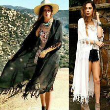 Women Kimono Cardigan Chiffon Long Loose Blouse TASSEL Beach Cover Up Coats Tops