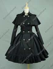 Victorian Black Lolita Cape Trench Coat Steampunk Cosplay Halloween Costume C018
