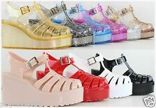 New lady's Retro Jelly Gladiator Buckle Strappy High Heel Platform Wedge Sandals