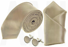 MENS CHAMPAGNE GOLD SATIN SKINNY TIE, or HANDKERCHIEF or CUFFLINKS or FULL SET
