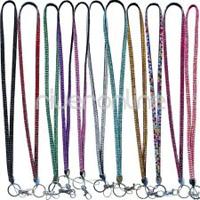 Rhinestone Bling Crystal Custom Lanyard ID Badge Cell Phone Key Holder Necklace