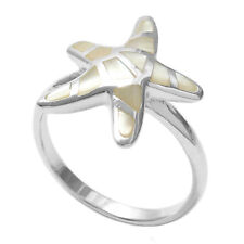 925 Sterling Silver Lovely Mother of Pearl Starfish Ring Size 5-9
