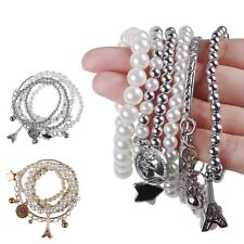 New Lady Girls Fashion Hot Jewelry Pearl Beads Chain Multilayer Bangle Bracelet