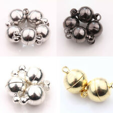 Fashion 5/10 Sets White K/Gun Black/Silver/Gold Plated Round Magnetic Clasps