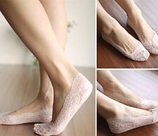 Silicone Sexy Invisible Lace Female feet Low Cut Socks Liner Beige/Black