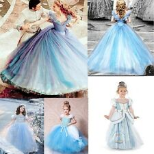New Cartoon Princess Cinderella Girl Gown Dress Kids Costume Big Swing Dresses
