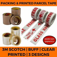 PARCEL TAPE HIGH QUALITY 3M SCOTCH TAPES CLEAR - BUFF / PRINTED FRAGILE TAPE