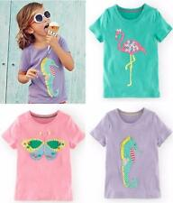 New ex Mini Boden Butterfly Flamingo or Seahorse Applique T-Shirt Top 3-12 years