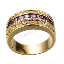 Jewelry Purple Amethyst Crystal CZ Rings Sz 9-12 Men/Women's Yellow Gold Filled