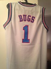 BUGS BUNNY #1 SPACE JAM TUNE SQUAD  BASKETBALL JERSEY WHITE S M L XL XXL