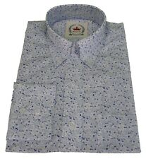 Relco White Teal Floral Cotton Long Sleeved Retro Mod Button Down Shirts