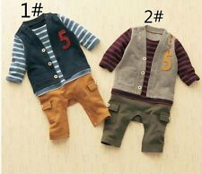 1 PC Cotton baby boys one piece false two jumpsuit outfits set boys Clothing
