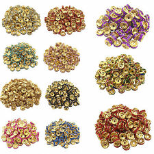 50/100Pcs Golden Plated Crystal Disc Spacer Loose Beads Charms 8mm Handcrafts