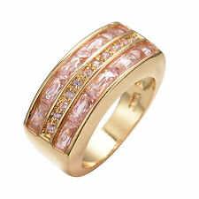 Pink Princess Cut AAA CZ Engagement Ring 10KT Gold Filled Chunky Band Size8/9/10