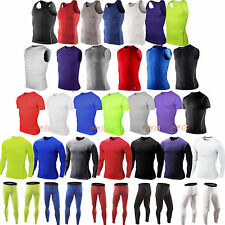 Mens Compression Armour Base Layer Top Pants Leggings Thermal Gym Sports Shirt