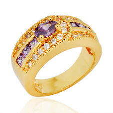 Jewelry Band Rings Size 6/7/8/9 Purple Women's 10K Yellow Gold Filled Engagement