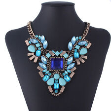 Flower Shape Statement Chain Silver Strap Crystal Choker Bib Necklace Fashion