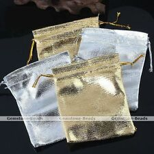 10X Silvery Golden Favour Organza Gift Bag Christmas Wedding Jewelry Gauze Pouch