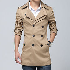 Fashion Mens Casual British Belts Double Breasted Trench Coat Plus Size Coat 6XL