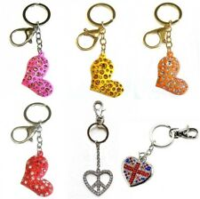 Red Love Heart Keyring Ring Chain Diamante Silver Peace Sign Union Jack Flag UK